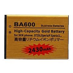 ソニーericssonphoneのst25l/xperia P / XPERIA U用2430mahリチウムイオンポリマー大容量の金のバッテリー