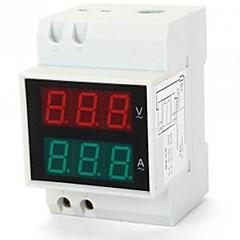 Digital LED Dual Display Rail AC Ammeter Voltmeter Voltage Current 0.2-99.9A