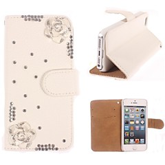 Rhinestone Handmade Bling Elegant Flower Design Leather Case for iPhone 4/4S