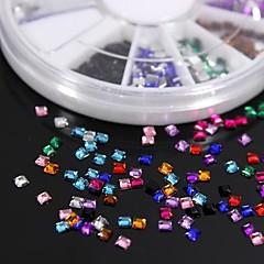 600pcs 12colours forma cuadrada rhinestones de acrílico del clavo de la rueda la decoración del arte