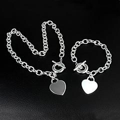 925 Sølv smukt hjerte halskæde armbånd sæt