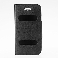 Double View Screen Window Flip Case Cover PU Leather for iPhone 4/4S(Assorted Colors)