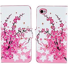 Beautiful Peach Blossoms Pattern PU Full Body Case with Card Slot and Stand for iPhone 4/4S