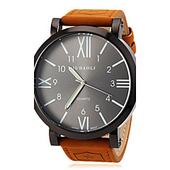 JUBAOLI Hommes Montre Bracelet Quartz Cuir Bande Marron Blanc Orange Rouge Bleu