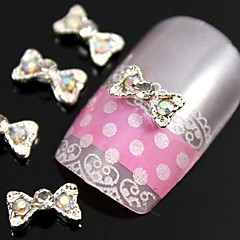 10pcs  Colorfull Rhinestone Alloy Accessories Bow Tie For Finger Tips Nail Art Decoration