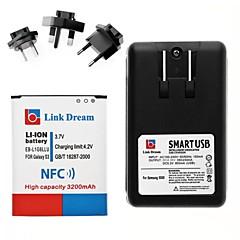 삼성 갤럭시 I9300의 S3를위한 NFC + 충전기 링크 꿈 휴대 전화 배터리 + 3 X 어댑터 (3200 MAH)