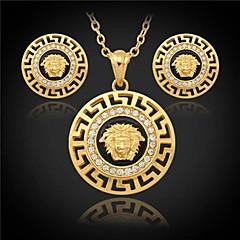 u7® vintagekvinna lejon huvudet hängande örhängen 18K guldpläterad österrikiska strass smycken uppsättningar för kvinnor