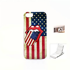 USA Tongue Design Durable TPU Soft Cover Case and Mini Display Stand with Diamond Dust Plug for iphone 5/5S