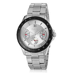 Мужской Нарядные часы Кварцевый Календарь Нержавеющая сталь Группа Серебристый металл бренд-
