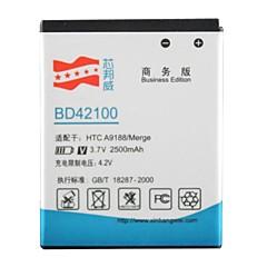 hög kapacitet 3.7v 2500mAh Li-Ion reservbatteri för HTC bd42100 / a9188