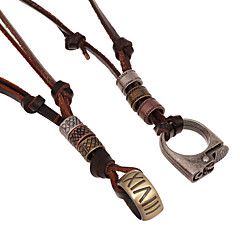Classic  (Ring And Lighter) Brown Leather Pendant Necklace(Random Color) (1 Pc) Christmas Gifts