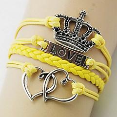 Dames Wikkelarmbanden Liefde Met de hand gemaakt Europees Modieus Leder Legering Kroonvorm Liefde Paars Geel Blauw Roze Sieraden Voor