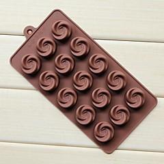 15 Hole Vortex Rose Shape Cake Ice Jelly Chocolate Molds,Silicone 21.7×10.8×1.7 CM(8.5×4.3×0.7 ICNH)