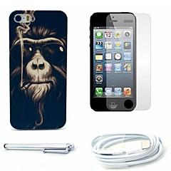caso duro del patrón del mono de fumar y protector de pantalla y lápiz óptico y el cable para el iphone 5 / 5s