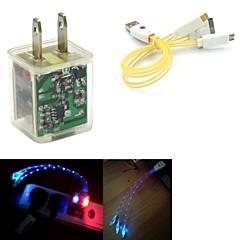 빛 듀얼 USB 2 포트 충전기 어댑터를 깜박 플러스 삼성 / 아이폰 / 아이 패드 / HTC에 대한 (6color)를 얼굴 3IN1 USB 케이블을 미소 주도