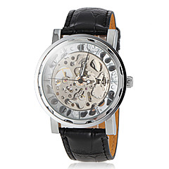 reloj de pulsera banda de los hombres-mecánico auto delicada línea grabado hueco de cuero negro