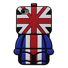 3D British UK Flag Robot Pattern Silicon Rubber Case for iPhone4/4s