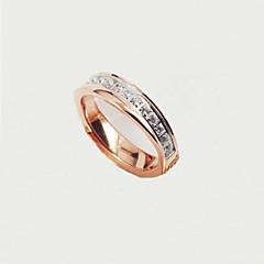 Anéis Forma Redonda Casamento / Pesta / Diário / Casual Jóias Aço Titânio / Chapeado Dourado Feminino Anéis Grossos5 / 6 / 7 / 8 / 3 / 4