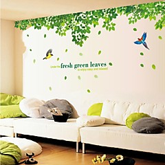 Doudouwo®Wall Stickers Wall Decals,  Landscape the Bird and Green Leaves PVC Wall Stickers