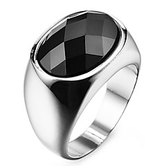 Famous Black Oval Silver Stainless Steel Men's Ring