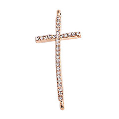 Alloy Gold Plated Rhinestone Cross Connectors for Bracelet
