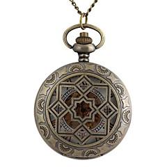 vintage grote ronde holle geometrie metalen grijper mechanische zakhorloge ketting horloge (1st)