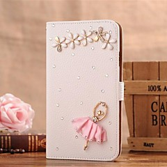 Diamond Petal Dancing Girl PU Leather Full Body Case with Stand and Card Slot for iPhone 4/4S
