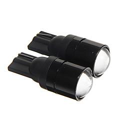 t10 1.5W cob 120lm 6000-6500k køligt hvidt lys førte pærer til bil instrument / sidemarkeringslygte (DC12V 2pcs)