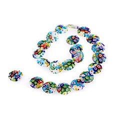 Fashionable Colorful Discs-Shaped Glass Beads/Loose Beads/Beaded Mixed Color(1Pc)