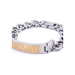 Men's Fashion Personality Titanium Steel Golden Scripture Bracelets