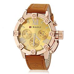 Men's Fashion Gold Case Khaki Leather Band Quartz Wrist Watch (Assorted Colors)