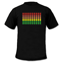 LED-T-shirts Lydaktiverede LED-lys Tekstil XS S M L XL XXL Nationalflag Sort 2 AAA Batterier