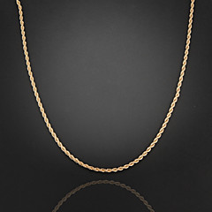 60cm,3mm,18K Gold Plated Thin Figaro Chain Men's Swirl Chain Necklace,Uneasy Fade