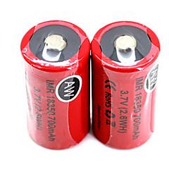 2stk aw IMR 18350 3.7V 700mAh strømkrevende oppladbart lithium batterier satt (2.6wh) red