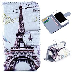 Eiffel Tower Pattern Wallet Style Flip Stand TPU+PU Leather Case for iPhone 4/4S