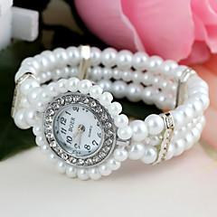 Damen Modeuhr Quartz Plastic Band Perlen Weiß Marke-
