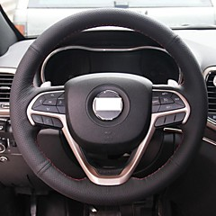 XuJi ™ Black Genuine Leather Steering Wheel Cover for Jeep Grand Cherokee 2014