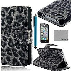 COCO FUN® Grey Leopard PU Leather Full Body Case with Screen Protector, Stand and Stylus for iPhone 4/4S
