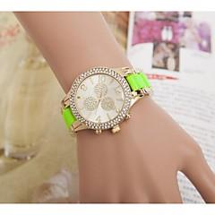 Dammode strass blomma stålband quartz armbandsur (blandade färger)