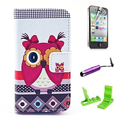 Beautiful Female Owl Pattern PU Leather Case with Screen Protector and Stylus for iPhone 4/4S