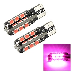 Merdia T10 1W 250LM 24x2835SMD LED Pink Light Side Light / Instrument Lamp/Daytime Running Light(2 PCS/12V)