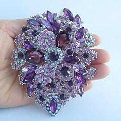 kvinnors trendiga legering silver-ton lila strass kristall blomma brosch
