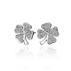 Fashion Clover White Platinum-Plated Stud Earrings (White)(1Pair)