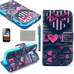 Coco fun® rakkaus sydän kuvio PU nahkainen näytönsuoja, kynä ja seistä Samsung Galaxy Ace 2 i8160