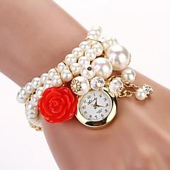 Damen Modeuhr Quartz Legierung Band Perlen Weiß Marke-
