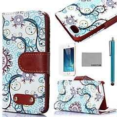 COCO FUN® Retro Water Flower Pattern PU Leather Full Body Case with Film, Stand and Stylus for iPhone 5/5S