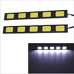 Carking Waterproof Aluminum 5-COB LED 8W White DRL Driving Daytime Running Light Lamp(2PCS)