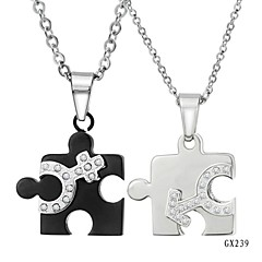 Fashion Silver plated Stainless Steel Couple Jigsaw Pendant Chain Necklace