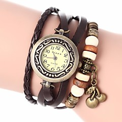 Women's Vintage Style Cherry Pendant Leather Band Quartz Analog Bracelet Watch (Assorted Colors)