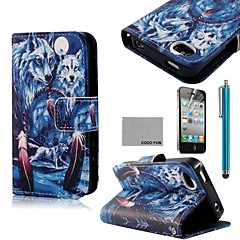 COCO FUN® Blue Wolf Pattern PU Leather Full Body Case with Screen Protector, Stand and Stylus for iPhone 4/4S